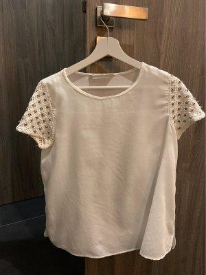 Zara Basic Koszulka z dekoltem w łódkę biały-kremowy