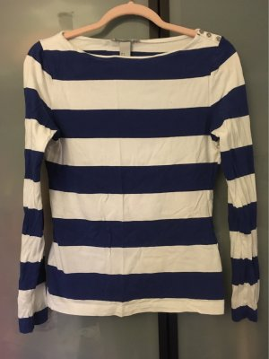H&M Sweatshirt wit-blauw Katoen