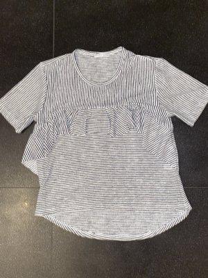 T-Shirt mit süßem Volant und Streifen