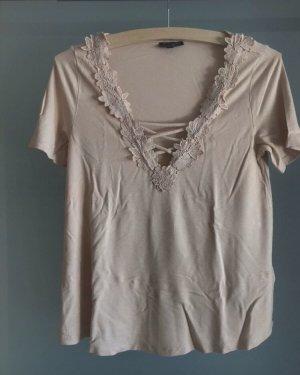 T-Shirt mit V-Ausschnitt und Spitze