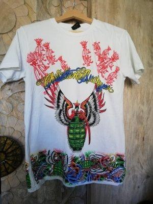 Christian Audigier T-shirt w kolorze białej wełny