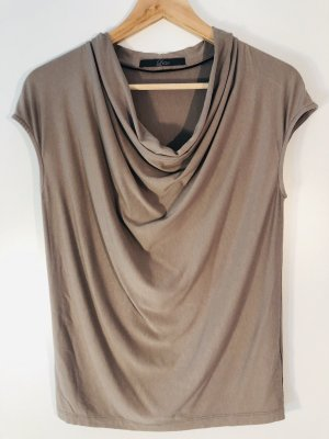Top collo ad anello marrone-grigio Viscosa