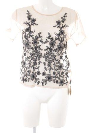 T-Shirt nude-schwarz florales Muster Romantik-Look