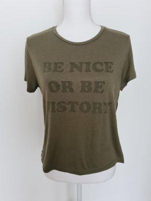 T-Shirt Oberteil Top Shirt in dunkel grün oliv 42