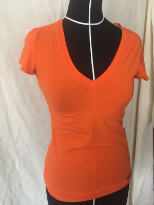 T-shirt orange neon Stefanel V-Ausschnitt