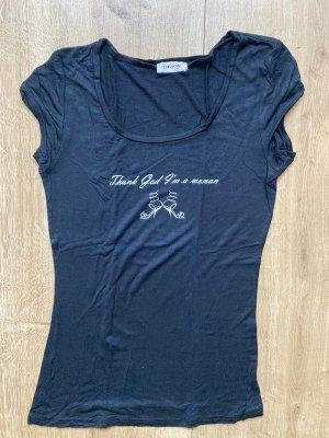 T-Shirt, Orsay, Glitzersteinchen, Thank God I'm a woman, Gr. S, schwarz