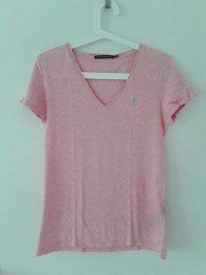Ralph Lauren Sport T-shirt col en V rosé-bleu clair