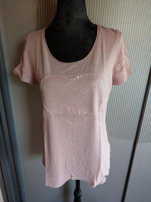 T-Shirt rosa Herz Pailletten Taifun