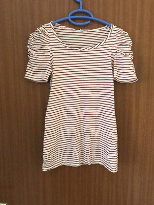 T-Shirt rot weiß Gr. 34 XS Pimkie Shirt Raffung gestreift Kurzarm