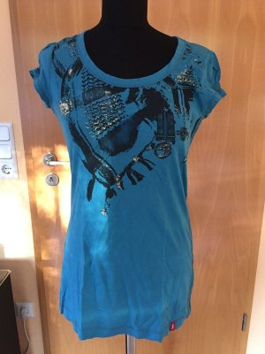 T-Shirt, Rundhals, edc by ESPRIT, blau/grün/türkis, Gr. S
