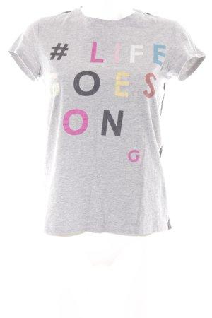T-Shirt Schriftzug gedruckt Spitzen-Optik