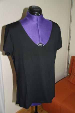 H&M V-Neck Shirt black cotton