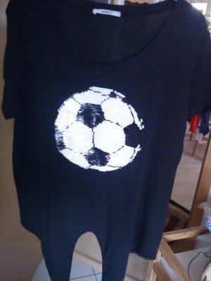 T-Shirt schwarz Fußball L Pailletten