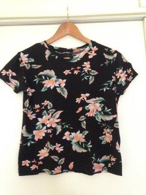 T-Shirt schwarz mit Blumen