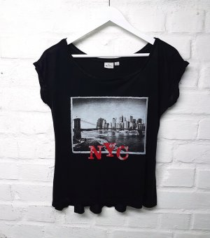 T-Shirt Schwarz Print Muster New York Gr. S/ 36