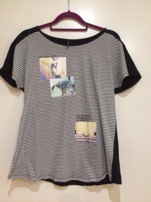 T-Shirt schwarz weiß gestreift mit Bilder, Gr. M