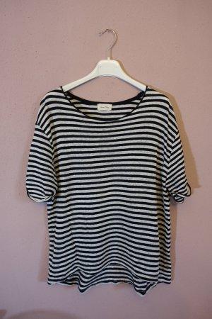 T-Shirt, schwarz weiß gestreift, Streifen, American Vintage, Leinen, Baumwolle