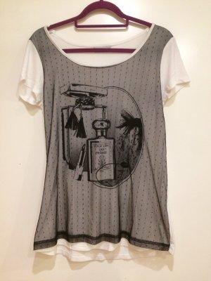 T-Shirt schwarz weiß mit Aufdruck, Netz und Punkten, Clockhouse, Gr. XL
