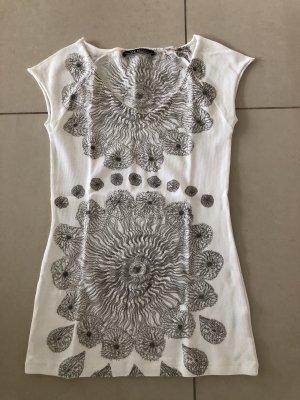 Sem per lei Camisa acanalada blanco-marrón grisáceo