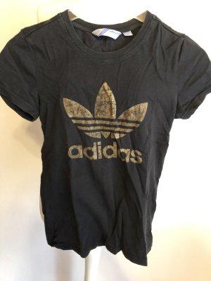 T-Shirt Shirt Basic schwarz mit Print Adidas Gr. 34