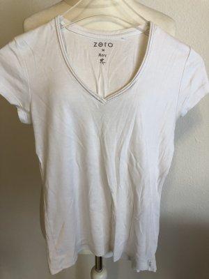T-Shirt Shirt Basic weiß V-Neck 100% Baumwolle Gr. 36