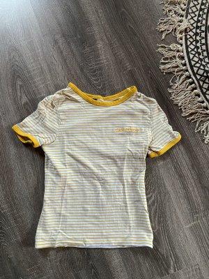 T-Shirt Shirt gelb weiß gestreift 'Sweetashoney' streifen top