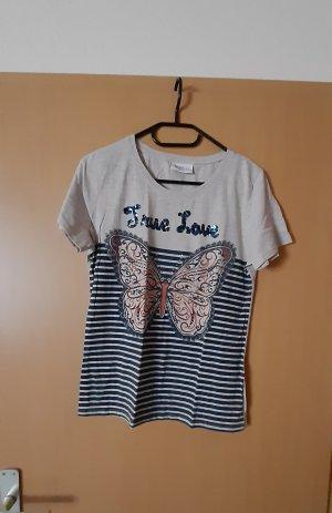 Gina Benotti T-Shirt light grey-steel blue