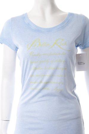 T-Shirt stahlblau-gelb meliert schlichter Stil
