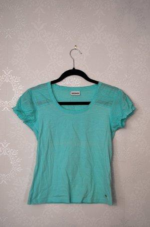 T-Shirt Street One NEU Türkis Raffungen Puffärmel Baumwolle Casual Basic