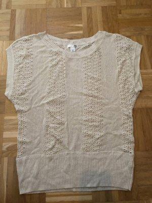 T-Shirt, Strick, hellbeige, Gr. M, H&M