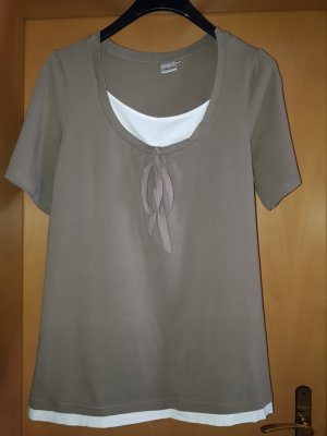 T-Shirt Taupe Doppeloptik