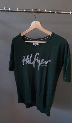 T-Shirt Tommy Hilfiger dunkelgrün Glitzeraufdruck silber Größe 34