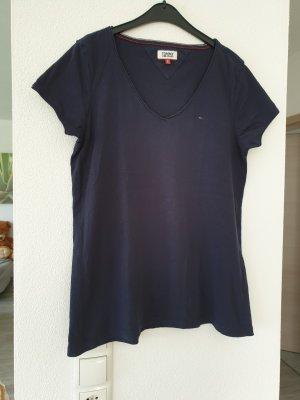 Tommy Jeans V-Neck Shirt dark blue cotton