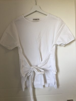 T-Shirt Top mit Bindegürtel in weiß