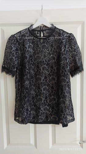 T-Shirt + Top schwarz mit Spitze M
