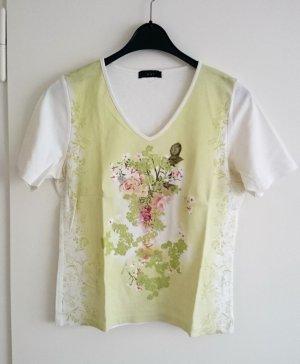 T-Shirt Top Shirt von Oui weiß bunt bedruckt Gr. 40