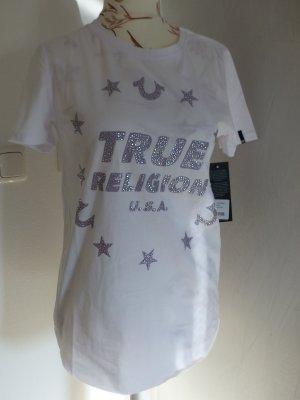T-Shirt True Religion weiß mit Glitzer - Größe S