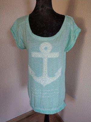 T-Shirt türkis anker Pailletten Key Largo