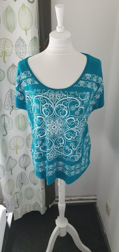 Aniston T-shirt blanc-turquoise viscose
