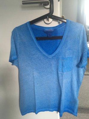 T-Shirt V-Ausschnitt blau Gr. S