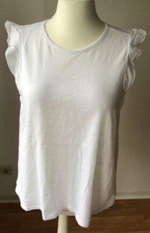 T-Shirt / Volantop / Shirt in weiß, Gr. L