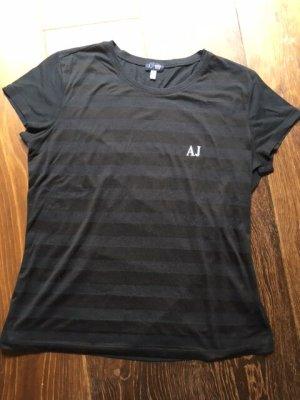 Armani Jeans Gestreept shirt zwart-antraciet Polyester