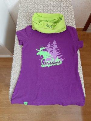T-Shirt von Bergans, Gr. S, lila mit Neon-Grün