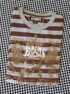 "T-Shirt von Big Buddha ""Rock Festivals - Ego Sum Rex Gloriae"" / grau braun weiss gold / L / NEU"