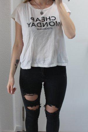 Cheap Monday T-shirt noir-blanc cassé