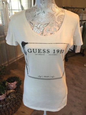 Guess T-shirt bianco-nero Cotone