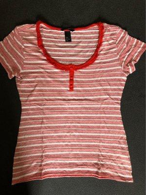 H&M T-shirt rosso-bianco