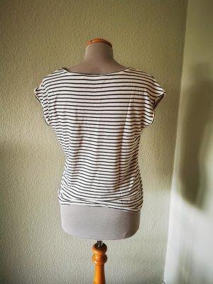 Hallhuber T-shirt biały-niebieski Wiskoza