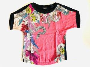 Just cavalli T-shirt imprimé rose-noir coton