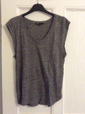 Maje T-shirt col en V gris anthracite